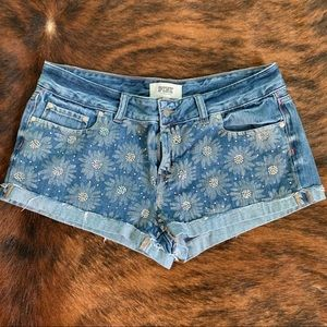 VS Pink Bling Sunflower Jean Shorts
